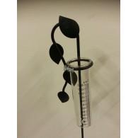 regenmeter metaal bladmotief hangend (zonder glas zie 8523323) kleur mat zwart