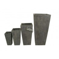 bloembak magnesium grijs taps set van 4 stuks