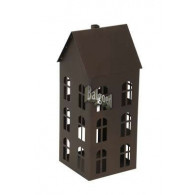 windlicht metaal huis hoog 44.5 cm bruin (vanaf week 28 leverbaar)