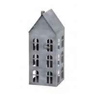windlicht metaal huis hoog 44.5 cm grijs (vanaf week 28 leverbaar)