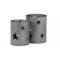 windlicht metaal ster set van 2 stuks grijs