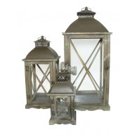 lantaarn hout bruin set van 3 stuks