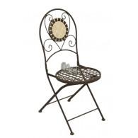stoel crème/bruin mozaïek 39,5x49xH91cm indoor (geen bijbehorende tafel beschikbaar)