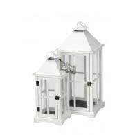 lantaarn hout wit set van 2 stuks