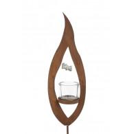 windlicht steker metalen vlam met  glas diameter hoog 35 cm roest schroefbaar