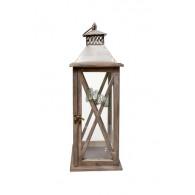 lantaarn hout bruin 17x17xH47cm (vanaf week 34 leverbaar)