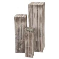 zuil hout set van 3 stuks bruin