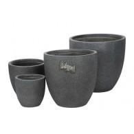 bloembak magnesium donker grijs rond set (3) van 4 stuks