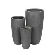 bloembak magnesium grijs rond set van 3 stuks