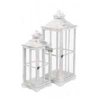 lantaarn hout wit geveegd set van 2 stuks hoog 62 / 75 cm (vanaf week 34 weer leverbaar)