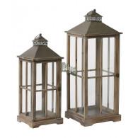 lantaarn hout bruin set van 2 stuks hoog 62 / 75 cm (vanaf week 34 weer leverbaar)