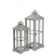 lantaarn hout grijs set van 2 stuks hoog 62 / 75 cm (vanaf week 37 weer leverbaar)