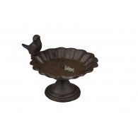 vogelbad op voet gietijzer bruin 1 vogel hoog 14 cm  (vanaf week 27 leverbaar)