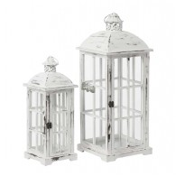 lantaarn hout wit set van 2 stuks hoog 48 / 66.5 cm