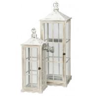 lantaarn hout wit geveegd set van 2 stuks hoog 71 / 98 cm (vanaf week 34 weer leverbaar)