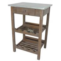 houten tafel met wijnrek antiek bruin met zinken tafelblad 51x40x77