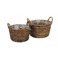 mand met handvat rotan bruin set van 2 stuks rond 36/42 cm (leverbaar vanaf week 20)
