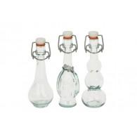 fles met beugel glas hoog 15 cm 3 assortiment design
