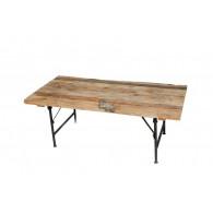 tafel hout en metaal 120x60xH46cm