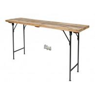 tafel hout en metaal 150x40xH78cm