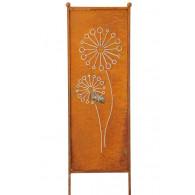 (week 13) tuin verdeel/decoratie scherm metaal roest met paardebloem 52xH165cm