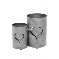 windlicht hart metaal set van 2 stuks grijs