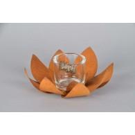 windlicht metalen bloem met  glas diameter 24 cm roest