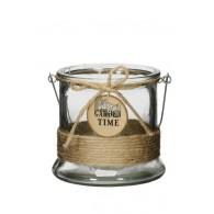 windlicht glas en touw diameter 13 cm