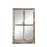 spiegel venster met legplank bruin hoog 62 cm