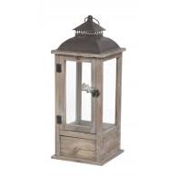 lantaarn hout bruin met lade hoog  51 cm (vanaf week 34 leverbaar)