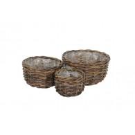 mand rotan bruin set van 3 stuks rond 17/23/29 cm (leverbaar vanaf week 20)