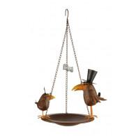 vogelbad hanger kraaien metaal bruin
