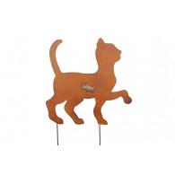 steker kat hoog 48 cm breed 35 cm roest kleur