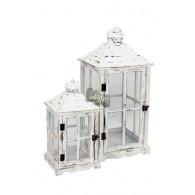 lantaarn hout wit geveegd set van 2 stuks hoog 39.5 / 59 cm (vanaf week 34 weer leverbaar)