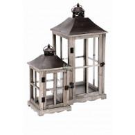 lantaarn hout bruin set van 2 stuks hoog 39.5 / 59 cm (vanaf week 34 weer leverbaar)