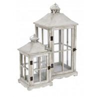 lantaarn hout grijs set van 2 stuks hoog 39.5 / 59 cm (vanaf week 34 weer leverbaar)