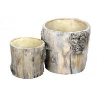 bloempot cement boomstam licht bruin set van 2 stuks