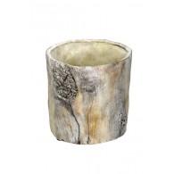 bloempot cement boomstam licht bruin hoog 13.5 cm
