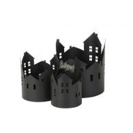 windlicht metaal huis set van 3 stuks zwart