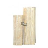 zuil hout set van 2 stuks bruin gewit