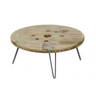 tafel hout en metaal D75xH35cm
