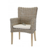 stoel rotan met kussen grijs 60x53xH93cm