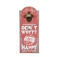 "flessen opener bont hout ""dont worry"""