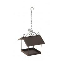 vogel voederhuis hanger vierkant 24x25xH27cm bruin (vanaf week 34 leverbaar)