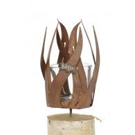 windlicht metaal vlam schroefbaar hoog 18.5 cm