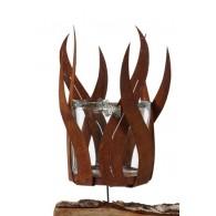 windlicht metaal vlam schroefbaar hoog 23 cm