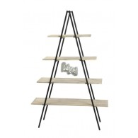 metalen kast met 4 houten planken zwart hoog 178 cm