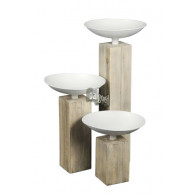 zuil met schaal hout set van 3 stuks wit