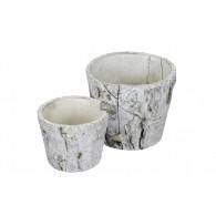 schaal cement berken motief diameter 11 en 14.5 cm set van 2 stuks