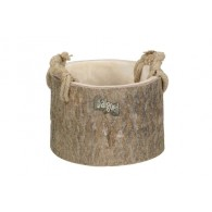 schaal hout met jute greep diameter 27 cm